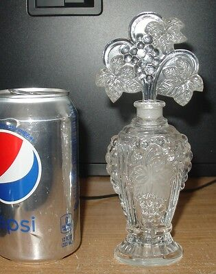 vintage art glass perfume bottle grape vine stopper crystal deco