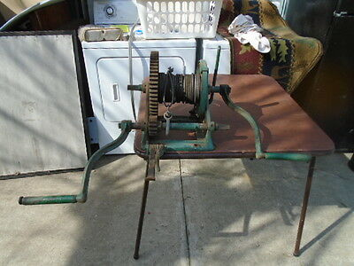 Antique Sasgen Derrick Hand Winch/ '' not working for parts or repairs''
