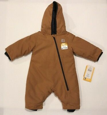 NWT Carhartt Quick Duck Outerwear Baby Winter Snow Suit Brown Size 6 Months