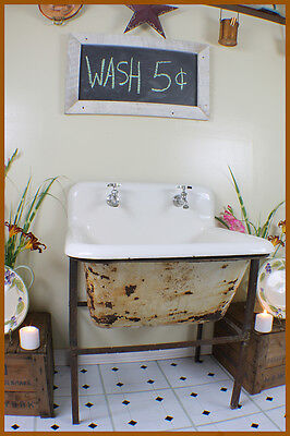 Antique Deep Farmhouse Large Laundry Sink with Hand Crafted Metal Farm Stand