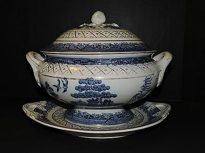 """Vintage Blue """"Willow"""" Tureen with Underplate (Without Ladle) Made in England"""