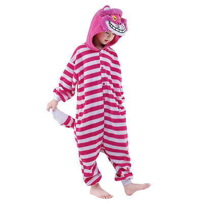 Unisex Kids Pajamas Kigurumi Cosplay Costume Animal Sleepwear (Cheshire Cat 95)