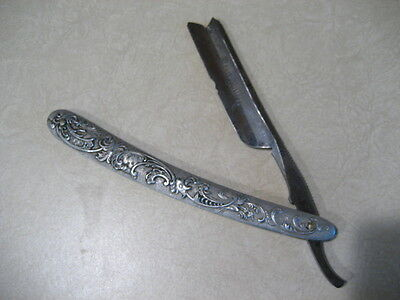 KEEN KUTTER Germany Straight Razor SIMMONS HARDWARE Silver Colored Handle VTG!