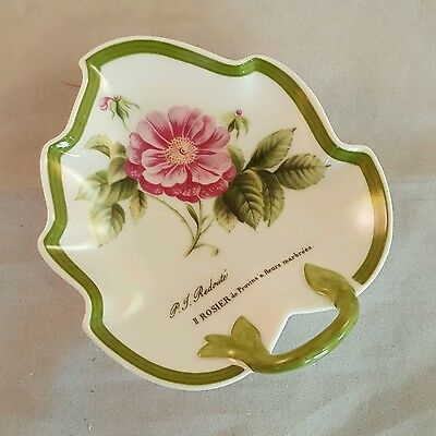 Hutschenreuther Redoute' Rose Leaf Pin Or Trinket Dish Vintage Green Pink 5362