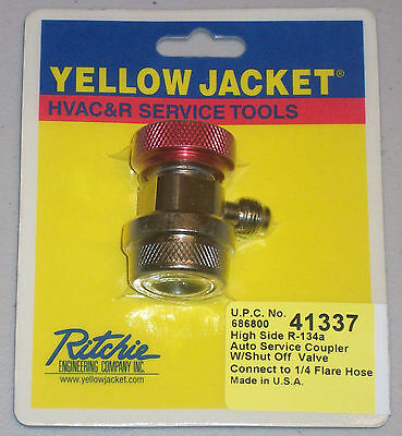"Yellow Jacket 41337 High Side R-134a Auto Service Coupler w/ Valve, 1/4"" Flare"