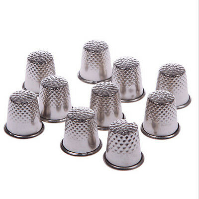 10pcs Fingers Thimble Sewing Grip Hand Metal Shield Protector Pin Needle Silver