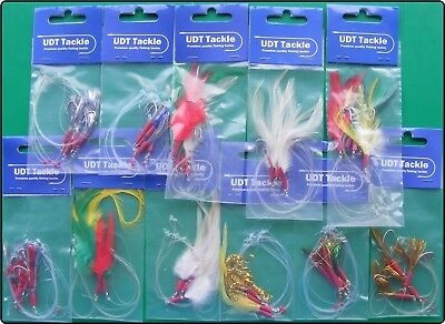 11 Packs Mackerel Lures Feathers Mackeral Sea Fishing Rigs Lure