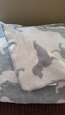 Reversible Gray & White Dachshund Doxie Dog Silhouette Large Throw Blanket NWT