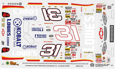 1517 Slixx Decals, LOWES, Nascar, 1:24 scale waterslide, Brand NEW