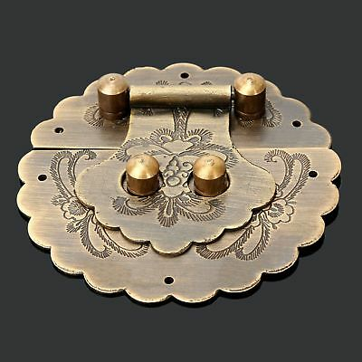 Antique Brass Jewelry Box Case Chest Encarved Round Hasp Latch Lock Decorative