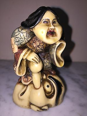 19c Antique Japanese Carved Netsuke Okimono `OKAME & TENGU MASK