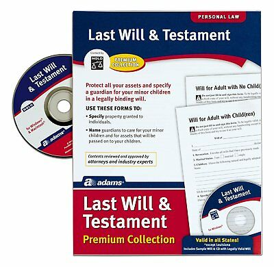 Adams Last Legal Forms Kits Will and Testament with CD, Forms and Instructions