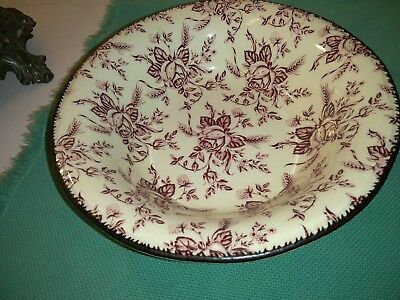 """Wood & Sons Colonial Rose Mauve/ Pink Round Vegetable Serving Bowl 9"""""""