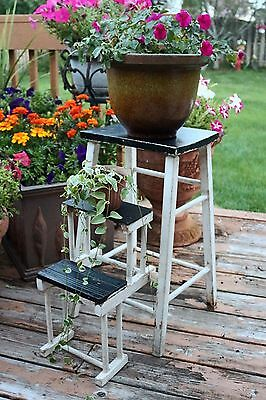 Antique Primitive Wooden Stool with Fold Out Steps Rustic
