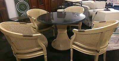 FRENCH STYLE CANE TUB CHAIRS and REVOLVING MARBLE TABLE
