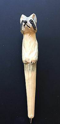 Collectible Raccoon Hand Carved Wood Pen
