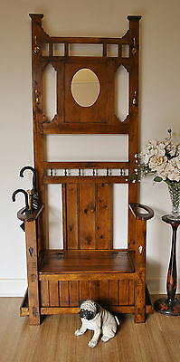 Rustic Antique Colonial Style Hall Stand / Hat & Coat Stand / Lift Top Hall Seat