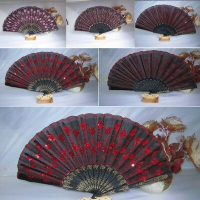 Sequins Wedding Party Bridals Decor Fan Embroidered Folding Hand Held Fan