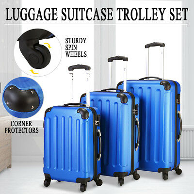 BHC 3Pcs Luggage Set Trolley Suitcase ABS +PC Hard Shell Lock Wheels Travel Bag