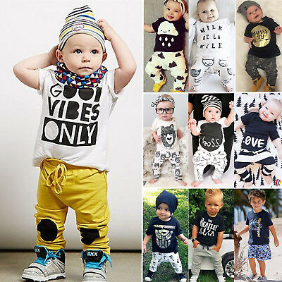 2pcs Toddler Baby Boy Kids T-shirt Top+Pants Trousers Outfit Set Casual Clothes