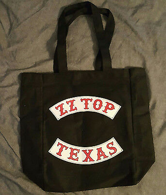 ZZ TOP Canvas Tote Bag Black TEXAS TOUR Motorcycle Rocker Style