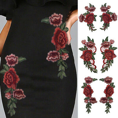 1/2/6PCS Rose Flower Embroidery Sewing Patches Badge For Clothes Dress Appliques