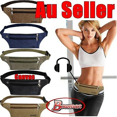 Canvas Unisex Bum Bag Waist Travel Money Belt Running Hiking Cycling Jogging