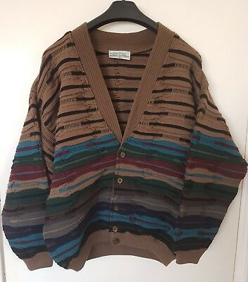 Vintage CARLO ALBERTO Pure Wool Jumper Cardigan~3D Textured Coogi Style~XL