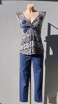 outfit completo pantaloni i-sik + top maglia blu tg.M made in Italy