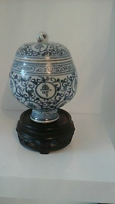 chinese blue and white porcelain  old ming , longtivey