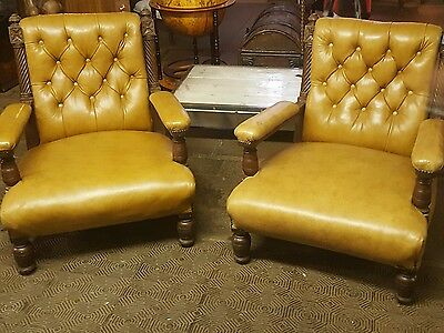 Pair Of Antique Leather Library Chairs