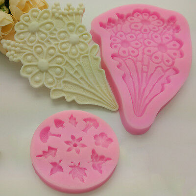 New Silicone 3D Flowers Fondant Cake Mold Chocolate Decor Tools Sugarcraft Mould