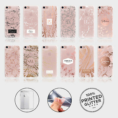Personalised Iphone Case Soft Clear Silicone Marble Veins Rose Gold Initials