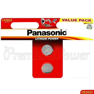 2 x Panasonic CR2032 batteries Lithium Power 3V Coin Cell DL2032 BR2032 EXP:2027