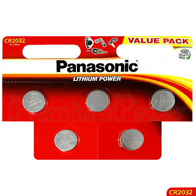 5 x Panasonic CR2032 batteries Lithium Power 3V Coin Cell DL2032 BR2032 EXP:2027