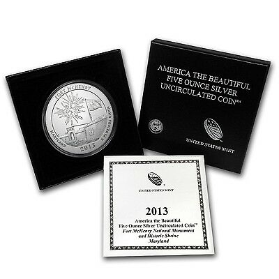 2013-P ATB FORT McHENRY 5 OZ. SILVER SPECIMEN COIN BOX & COA SOLD OUT at MINT
