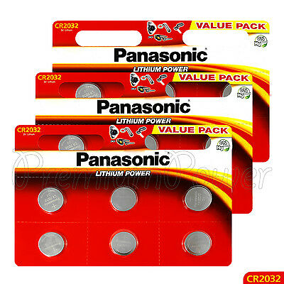 18 x Panasonic CR2032 batteries Lithium Power 3V Coin Cell DL2032 BR2032 EX:2027