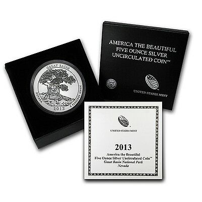 2013-P ATB GREAT BASIN 5 OZ. SILVER SPECIMEN COIN BOX & COA SOLD OUT at MINT