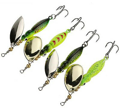 4pcs Spinner Baits Fishing Lures 15.6g/9cm Spinnerbait Trout Metal Spoon Willow
