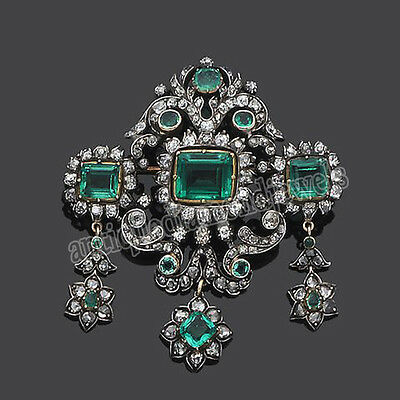 4.40ct ROSE CUT DIAMOND  EMERALD .925 STERLING SILVER ANNIVERSARY BROOCH PIN