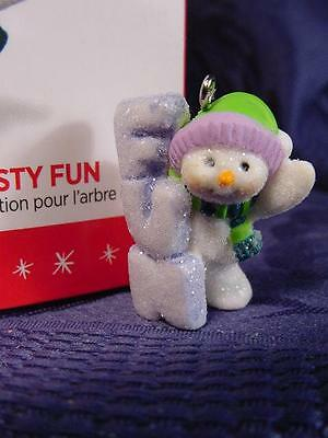 NEW 2016 HALLMARK MINIATURE ORNAMENT Tiny SNOWMAN A LITTLE FROSTY FUN MIB 5pics