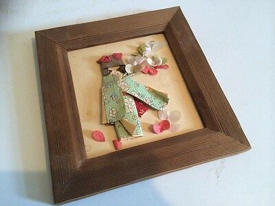 Japanese Picture Girl In Kimono Fabric & Paper Framed Picture Vintage Geisha