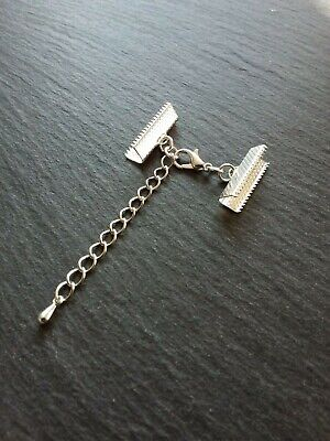 """13//16/"""" 12mm Clasps /& Chain Wide Ribbon 6 Sets Silver TONE Crimp Ends for 20mm"""