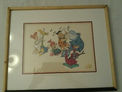 "Hanna Barbera limited edition serigragh cel ""Bedrock' N ' Roll"" with..."