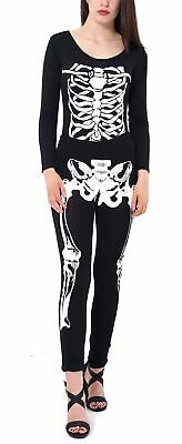 Womens Halloween Skeleton Bones Print Jumpsuit Ladies Scoop Neck Fancy Dress