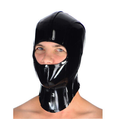 Sexy White Latex Mask Rubber Hood Open Mouth and Nose with Back Tied for party