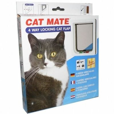 Pet Mate Lockable Cat Door Flap 4 Way Locking 309W/B White For Thin Doors Panels