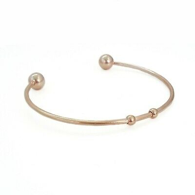1 x Rose Gold Tone Stainless Steel Cuff Bangle - Fixed Ends Bracelet Blanks
