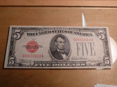 1928C $5 Red Seal U.S. Note, VF+ Condition...SKU#11350
