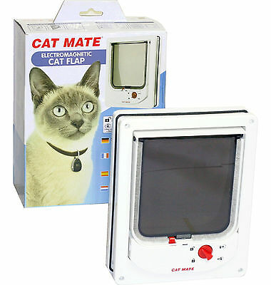 Pet Mate Cat Mate 254 Cat Flap Electromagnetic Pet Door 4 Way Locking Magnetic